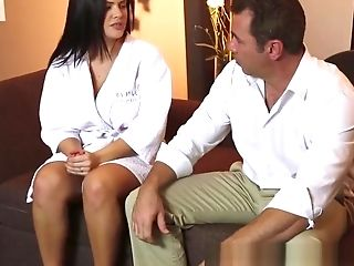 Big-boobed Masseuse Fucked After Voluptuous Make-out