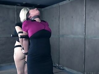 Pervert Is Penalizing Blonde And Asian Hookers In The Dark Basement