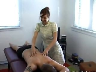 Adorable Redheaded Teenager Masseuse Providing Him A Glad Ending