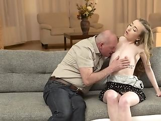 Skinny Russian Gal Cheats On Bf With Nosey Old Step-father