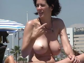 Incredible Big Breasts Naturist Cougar On The Beach