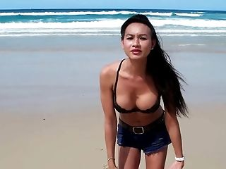 Sexy T-girl At The Beach.