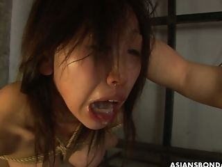 Pervy Asian Dude Fucks Face Of Tied Up And Suspended Hooker Kana Sato