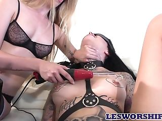 Hot Mistress Taking Her Time Penalizing Her Tattooed Gimp At Home