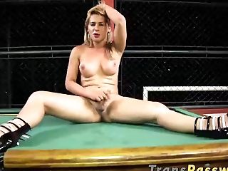 Huge-chested Blonde Transsexual Pamela Levinski Playing Solo