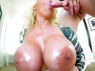Blue Eyed Ginormous Boobed Blonde Mummy Alura Jenson Gives Awesome Tit-fucking