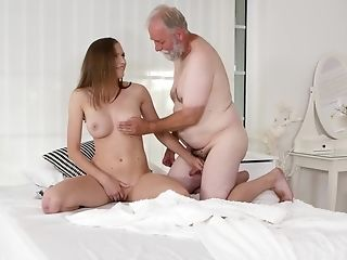 Old Dude Perceives Love Up And Thrusts Salami In Her Smoothly-shaven Snatch