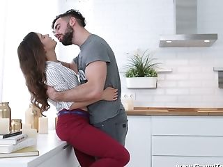 Charming Nymph Fox Passionately Rails Fat Man Rod Right In The Kitchen
