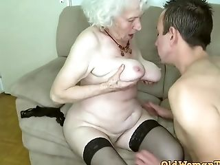 Grand-ma Sex Industry Star Norma Having Bang-out Her Teenage Boy