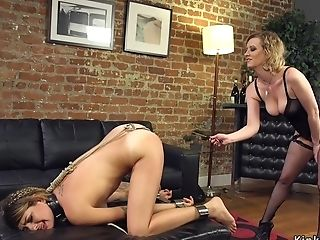 Girl-on-girl Chained And Rump Caned Lezzie Domination