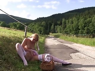 Sweet Looking Blonde In Milky Stockings Nikki Desire Is Playing With Her Fuckbox Outdoor