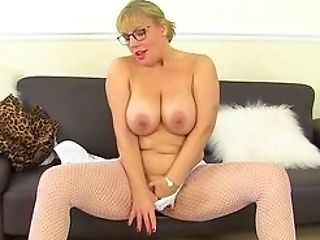 Jizz Auntie On Those Immense Tits Before Fucking Her Muff Right