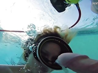 Perverted Gal With Oxygen Tanks Monica Fucks Underwater Mad