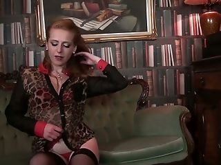 Lonely Housewife Tia Jones Is Playing With Her Fur Covered Crimson Haired Vulva
