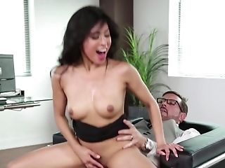 Fucking His Hot Asian Assistant At Work And Making Her Jizz