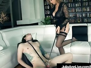 Fem Dom Mummy Julia Ann Orders Tethered Boy Tool To Eat Her Out!