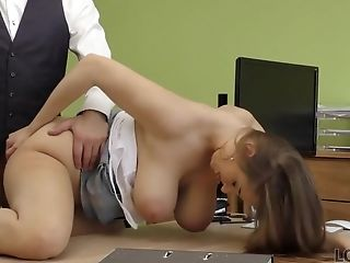 Suzie Sun Takes Half-top Off And Gives Titfucking To Loan Manager