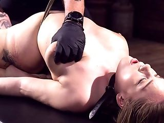 Tied Up And Suspended Sweetheart Hadley Viscara Squirts In The Dark Domination & Submission Room