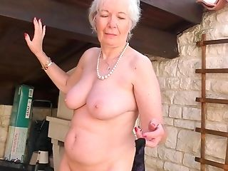 Brief Haired Matures Inexperienced Granny Caroline Strips In The Garden