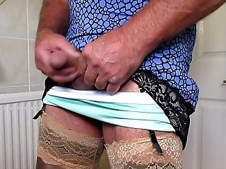 Pleated Mini-skirt And Nylon Slip Wank