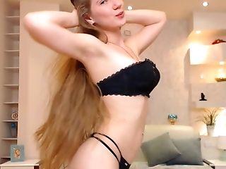 Hot Blonde Cradles Her Rack With Tender Loving