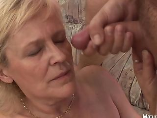 Old Granny Takes A Vag Pounding On The Couch