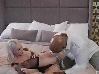 Big Black Pipe For Petite Blonde Emma Hix In Black Undergarments