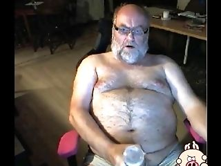 Grandfather Stroke On Webcam With A Gear