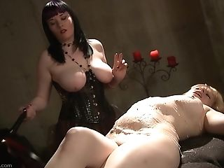 Blonde Cutie Screams While A Mistress Drills Her Cunt With Candles