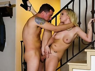 Blonde Model Bailey Brooke In High Stilettos Drops On Her Knees To Give Head