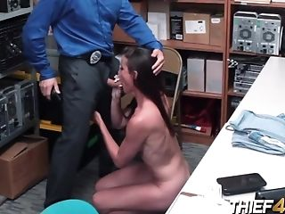 Sofie Marie Is Caught Stealing By Horny Officer Who Makes Her Take His Penis