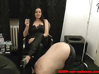 German Domination & Submission Fixation Servant And His Smoke Female Dominance