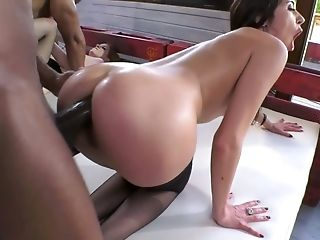 Irina Vega And Her Gf Arrange Dirty Interracial Fourway Bang-out