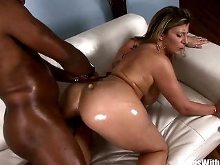 Greased-up Blonde Mummy Sara Jay Fucking Black Dick