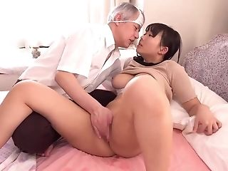 Huge-boobed Asian Nymph And Old Geezer