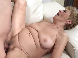 A Nasty Old Granny Is Getting Fucked In Her Labia Rear End Style