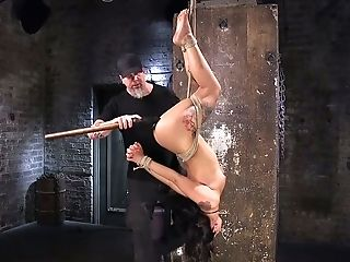 Pervy Dude Penalizes Puss Of Hang Upside Down Bitch Gina Valentina