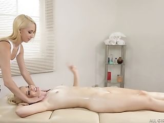 Slender Cutie Charlotte Stokely Receives A Rubdown From A Girly-girl Stunner