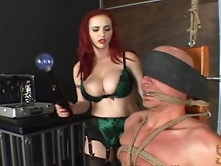 Masculine Fellow In Restrain Bondage Gets Her Ball Busted In A Nasty Female Dom Activity