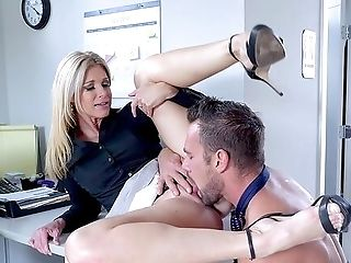 Naked Wifey Attempts Hard Lovemaking At Work With The Fresh Man