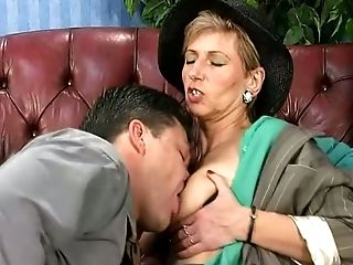 Lusty Granny With Saggy Tits Is Actually Good At Railing Strong Man-meat