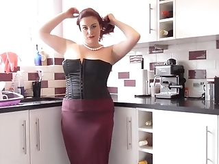 Red-haired Matures Fledgling Brit Cougar Scorpio Strips In The Kitchen