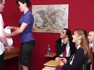 Sweet Cfnm Teenagers Wanking Rod In Classroom