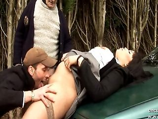 Chubby Bbw French Tart Buggered In 3way With Oldman Outdoor
