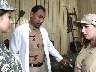 Soldier Tina Kay In An Interracial Group Romp With A Black Doc