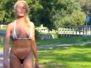 Swiss Cougar Ambles In A Swimsuit
