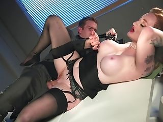 Ginger-haired Office Super-bitch Zara Durose Rails Fuck-stick Like A Nymphomaniac In Warmth