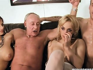 Classy Bombshell Honies Black Angelika And Britney Get Spunk In An Orgy