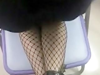 Sexy Tall Dame In Leather And Fishnets Has Her Doc Marten Boots Cummed On