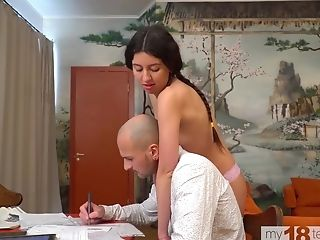 Katty West Does The Cleaning Naked And Tempts Housemaster